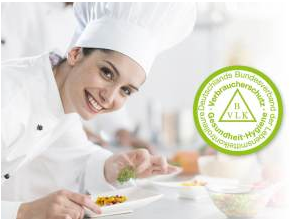 Check de Cuisine - BVLK Logo neben lächelnder Köchin